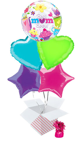 Best Mum Ever Bubble Balloon Bouquet - 5 Inflated Balloons In A Box Product Image