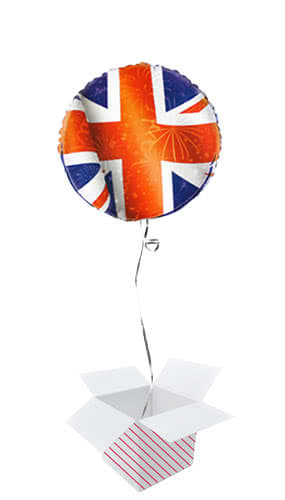 Best of British Union Jack Round Foil Helium Balloon - Inflated Balloon in a Box