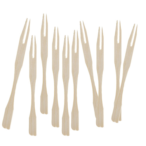 Biodegradable Mini Bamboo Skewer Forks - Pack of 50 Product Image