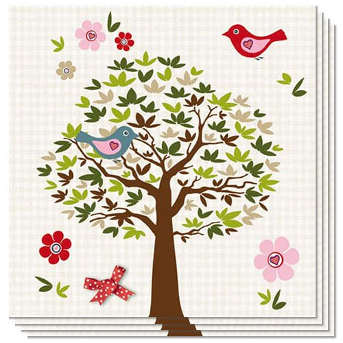 Birds In Tree Luncheon Napkins 3 Ply - 33cm -Pack of 20 Product Image