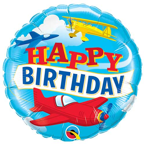 Birthday Airplanes Round Foil Helium Qualatex Balloon 46cm / 18 in Product Image