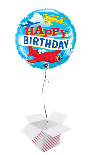 Birthday Airplanes Round Foil Helium Qualatex Balloon - Inflated Balloon in a Box Product Image