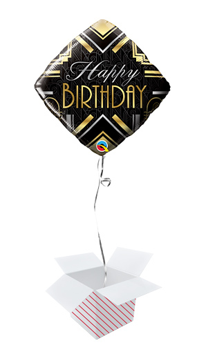 Birthday Art Deco Foil Helium Qualatex Balloon - Inflated Balloon in a Box Product Image