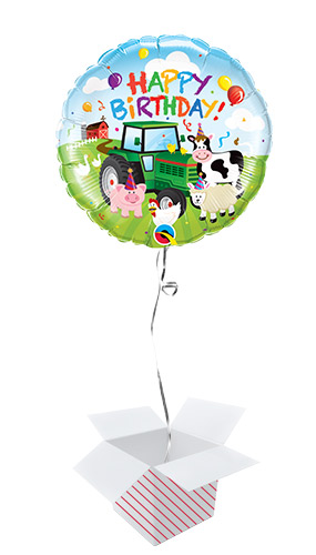 Birthday Barnyard Round Foil Helium Qualatex Balloon - Inflated Balloon in a Box Product Image