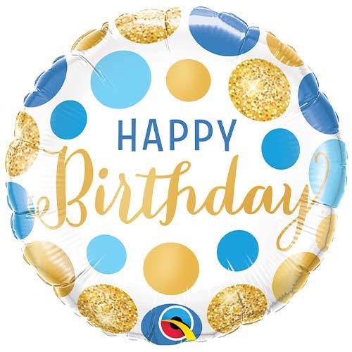 Birthday Blue & Gold Dots Round Foil Helium Qualatex Balloon 46cm / 18 in