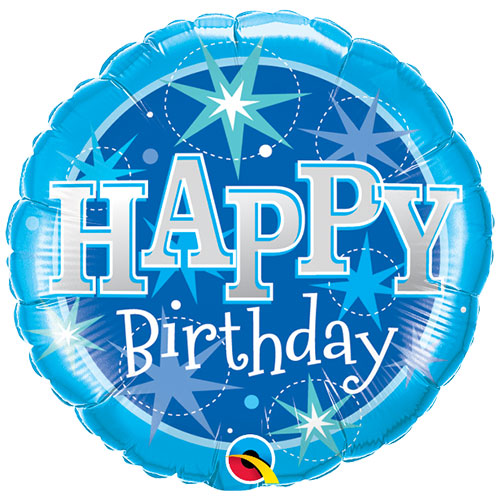 Birthday Blue Sparkle Round Foil Helium Qualatex Balloon 46cm / 18 in Product Image