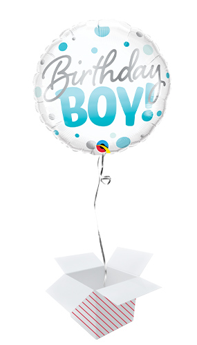 Birthday Boy Blue Dots Round Foil Helium Qualatex Balloon - Inflated Balloon in a Box Product Image