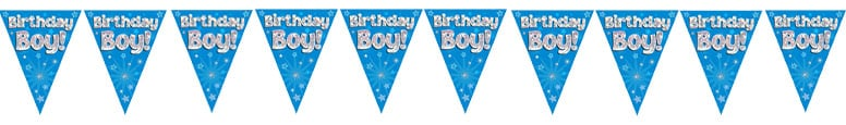 Birthday Boy Blue Holographic Foil Pennant Bunting 3.9m