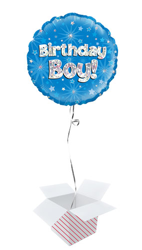 Birthday Boy Blue Holographic Round Foil Helium Balloon - Inflated Balloon in a Box Product Image