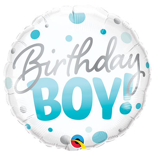 Birthday Boy Dots Round Foil Helium Qualatex Balloon 46cm / 18 in Product Image