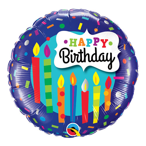 Birthday Candles And Confetti Round Foil Helium Qualatex Balloon 46cm / 18 in Product Image