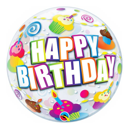 Birthday Colourful Cupcakes Bubble Helium Qualatex Balloon 56cm / 22 in Product Image