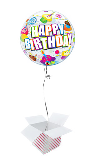 Birthday Colourful Cupcakes Bubble Helium Qualatex Balloon - Inflated Balloon in a Box Product Image