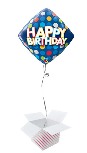 Birthday Colourful Dots Diamond Shape Foil Helium Qualatex Balloon - Inflated Balloon in a Box Product Image