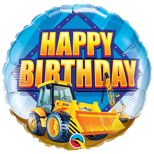 Birthday Construction Zone Round Foil Helium Qualatex Balloon 46cm / 18 in Product Image