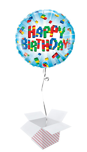Birthday Exploding Blocks Round Foil Helium Qualatex Balloon - Inflated Balloon in a Box Product Image
