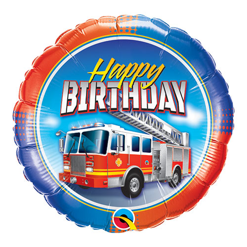 Birthday Fire Truck Round Qualatex Foil Helium Balloon 46cm / 18 Inch Product Image