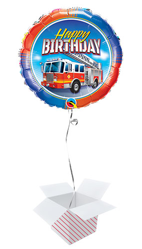 Birthday Fire Truck Round Qualatex Foil Helium Balloon - Inflated Balloon in a Box Product Image