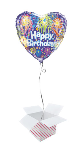 Birthday Fireworks Heart Shape Foil Helium Balloon - Inflated Balloon in a Box Product Image