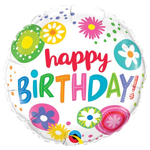 Birthday Floral Circles Round Foil Helium Qualatex Balloon 46cm / 18 in Product Image