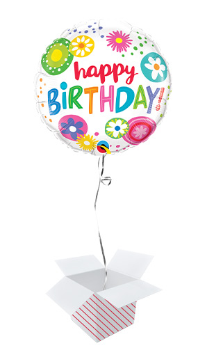 Birthday Floral Circles Round Foil Helium Qualatex Balloon - Inflated Balloon in a Box Product Image