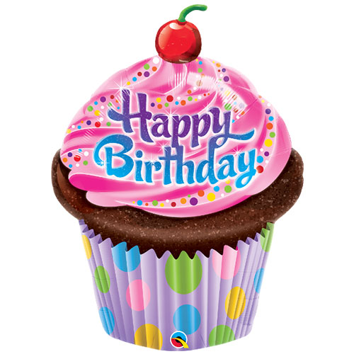 Birthday Frosted Cupcake Helium Foil Giant Qualatex Balloon 89cm / 35 in Product Image