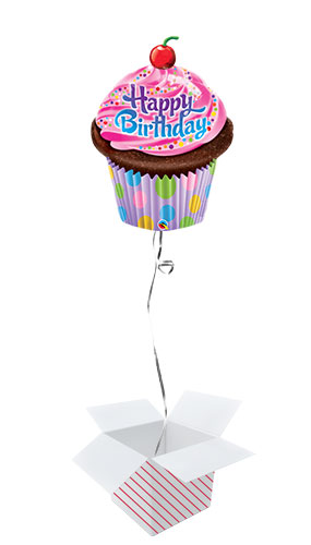 Birthday Frosted Cupcake Helium Foil Giant Qualatex Balloon - Inflated Balloon in a Box Product Image