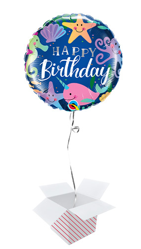 Birthday Fun Under The Sea Round Foil Helium Qualatex Balloon - Inflated Balloon in a Box Product Image