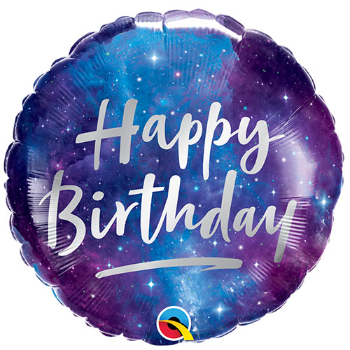 Birthday Galaxy Foil Helium Qualatex Balloon 46cm / 18 in