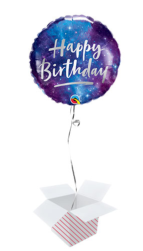 Birthday Galaxy Foil Helium Qualatex Balloon - Inflated Balloon in a Box