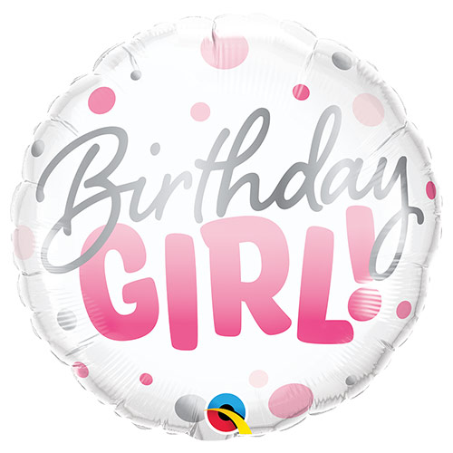 Birthday Girl Pink Dots Round Foil Helium Qualatex Balloon 46cm / 18 in Product Image