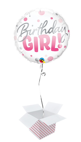 Birthday Girl Pink Dots Round Foil Helium Qualatex Balloon - Inflated Balloon in a Box Product Image