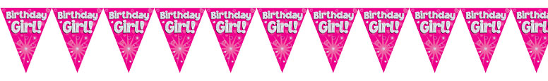 Birthday Girl Pink Holographic Foil Pennant Bunting 3.9m