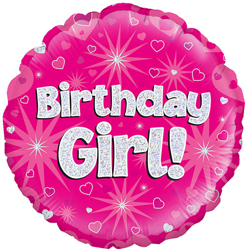 Birthday Girl Pink Holographic Round Foil Helium Balloon 46cm / 18Inch Product Image