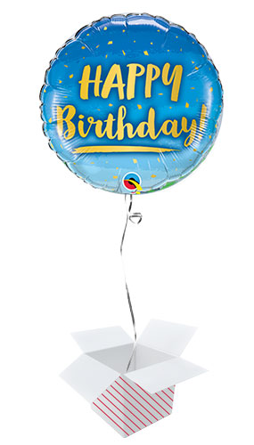 Birthday Gold And Blue Round Qualatex Foil Helium Balloon - Inflated Balloon in a Box Product Image