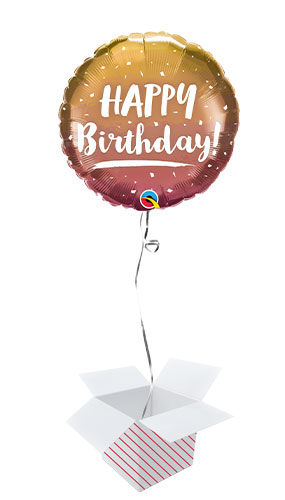 Birthday Gold & Rose Gold Ombre Foil Helium Qualatex Balloon - Inflated Balloon in a Box Product Image