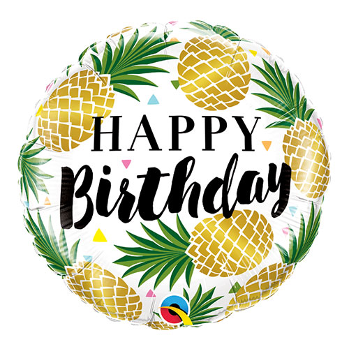 Birthday Golden Pineapple Round Foil Helium Qualatex Balloon 46cm / 18 in Product Image