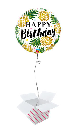Birthday Golden Pineapple Round Foil Helium Qualatex Balloon - Inflated Balloon in a Box