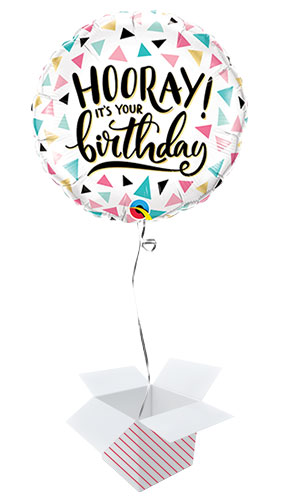 Birthday Hooray Round Qualatex Foil Helium Balloon - Inflated Balloon in a Box Product Image