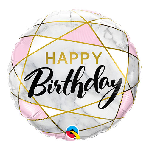 Birthday Marble Rectangles Round Qualatex Foil Helium Balloon 46cm / 18 Inch Product Image