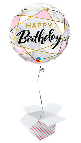 Birthday Marble Rectangles Round Qualatex Foil Helium Balloon - Inflated Balloon in a Box Product Image