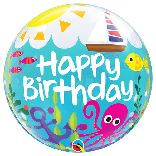 Birthday Maritime Fun Bubble Helium Qualatex Balloon 56cm / 22 in Product Image