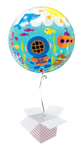 Birthday Maritime Fun Bubble Helium Qualatex Balloon - Inflated Balloon in a Box Product Gallery Image