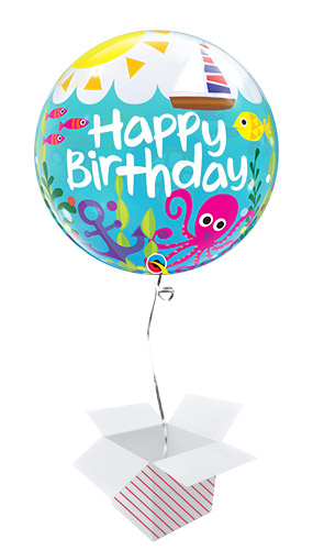 Birthday Maritime Fun Bubble Helium Qualatex Balloon - Inflated Balloon in a Box Product Image