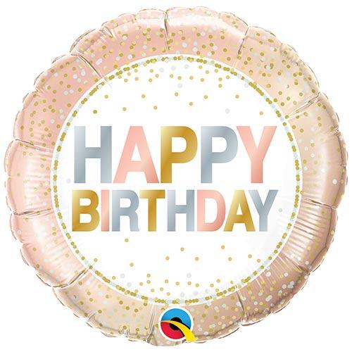 Birthday Metallic Dots Round Foil Helium Qualatex Balloon 46cm / 18 in Product Image