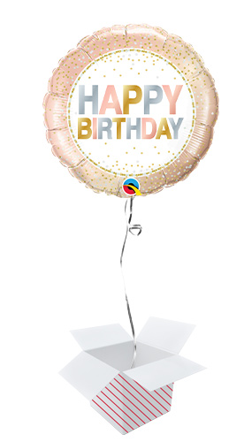 Birthday Metallic Dots Round Foil Helium Qualatex Balloon - Inflated Balloon in a Box