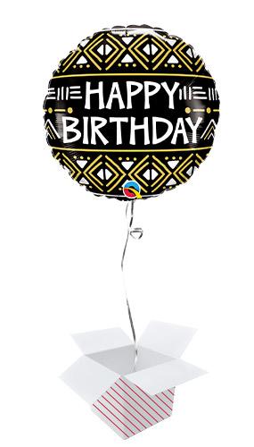 Birthday Mud Cloth Print Round Foil Helium Qualatex Balloon - Inflated Balloon in a Box