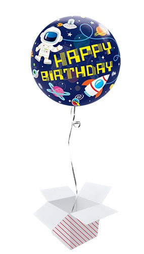 Birthday Outer Space Bubble Helium Qualatex Balloon - Inflated Balloon in a Box Product Image