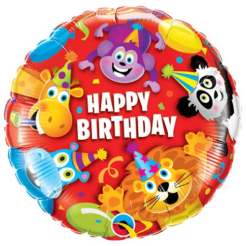 Birthday Party Animals Round Foil Helium Qualatex Balloon 46cm / 18 in Product Image