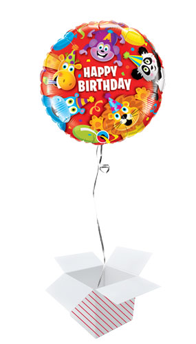 Birthday Party Animals Round Foil Helium Qualatex Balloon - Inflated Balloon in a Box Product Image